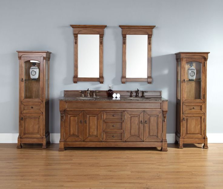 """James Martin 147-114-5771-TBR Brookfield 72"""" Country Oak Double Vanity with Tropical Brown Stone Top"""