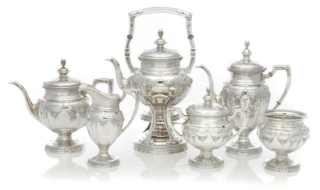 An American sterling silver six-piece tea and coffee service by Wm. B. Durgin Co., Providence, RI; retailed by Bailey, Banks & Biddle, Philadelphia, PA,  early 20th century