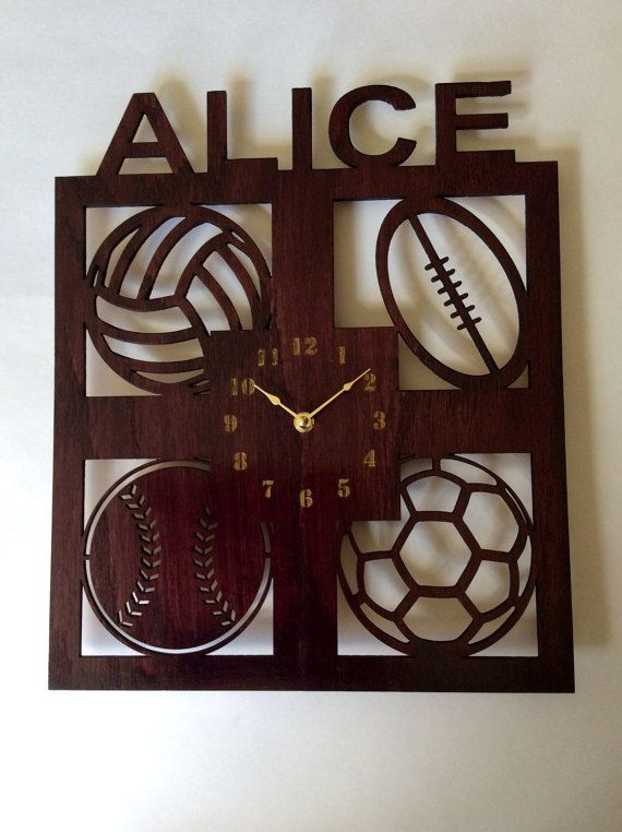 Personalized sports wall clock. Kids wall clock by artbiheart