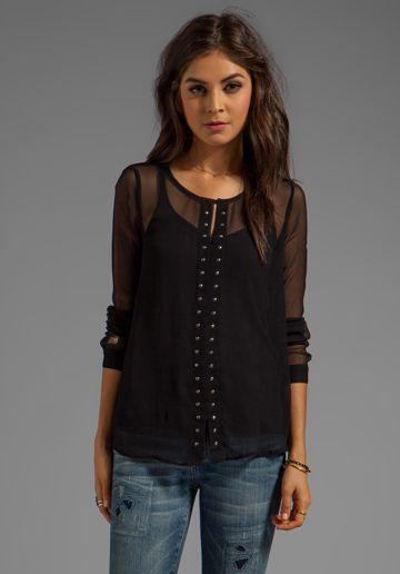 ELLA MOSS Camilla Long Sleeve Top in Black - Black