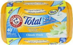 Arm & Hammer Total 2-in-1 Dryer Cloths, Classic Fresh, 40 Count by Arm & Hammer. $4.76. Controls static. 2-in-1 moist dryer cloths. Classic fresh scent. 2-in-1 moist dryer cloths are a combination of a liquid fabric softner, and a dryer sheet. Controls static with classic fresh scent. Includes 40 sheets.