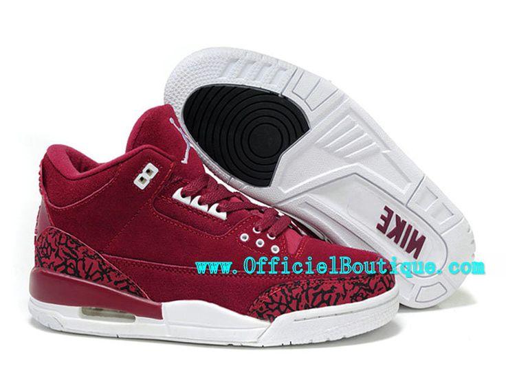 Air Jordan 3 Retro - Chaussures Basket Jordan Pas Cher Pour Femme Rouge  398614-B04