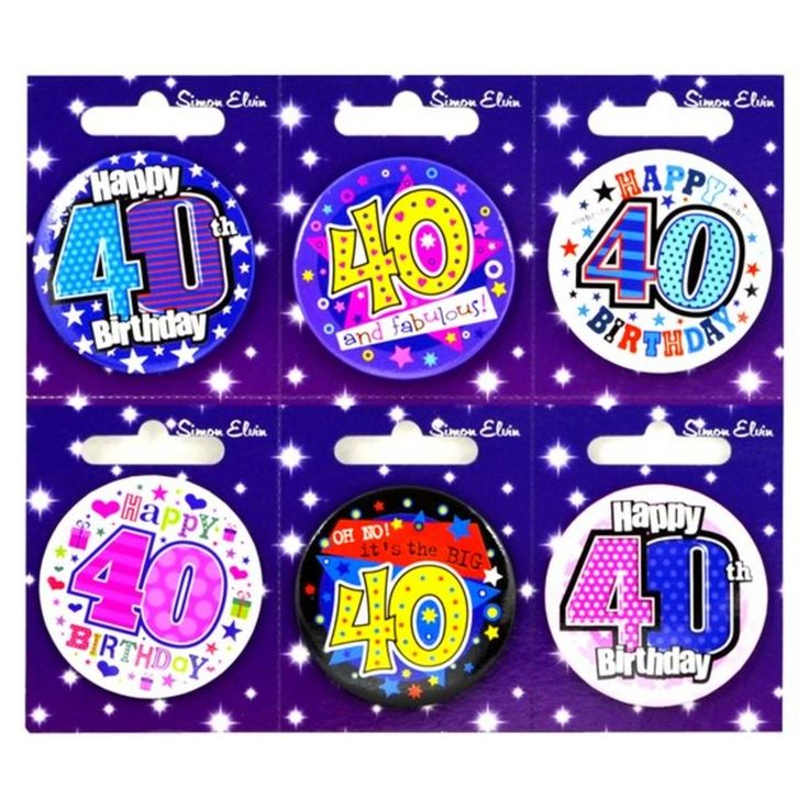 Simon Elvin 40Th Birthday Small Badge (Pack Of 6)