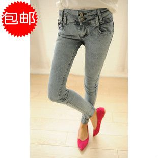 % Брюки состаренные завышенная талия мешок 9 узкие брюки брюки-карандаш женское джинсы