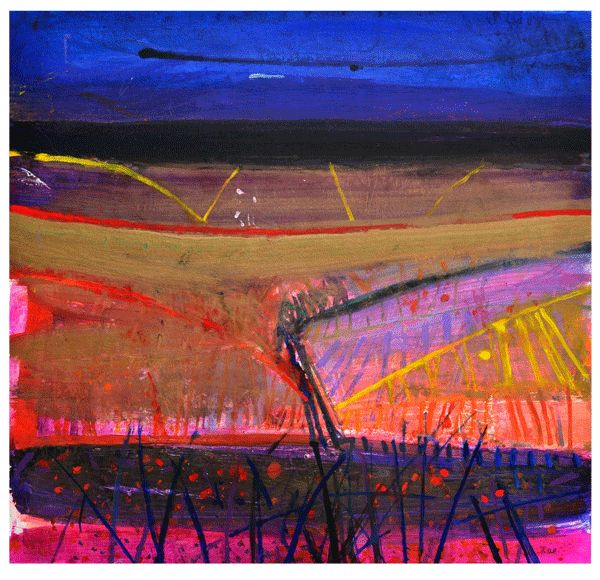 Montaione, Night Ploughing, mixed media, 100 x 106cm by Barbara Rae