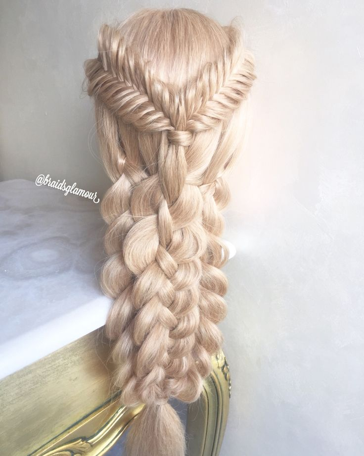Mixed braids (fishtails into four /three strand braids)