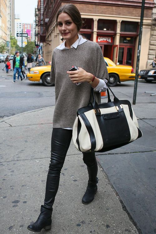 Olivia Palermo #leatherpants