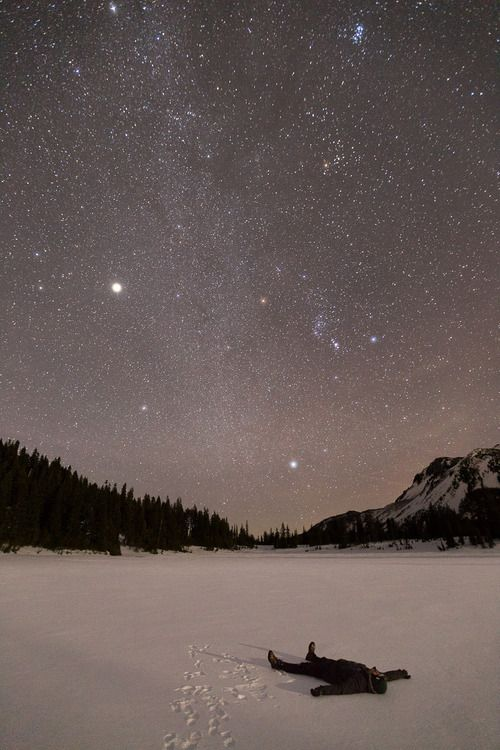winter night........ I love when you lay down the snow and look at the stars...... Relaxing..... ;)