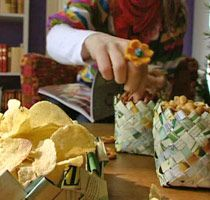 A new twist on the chip bag project that the ladies do in Honduras.