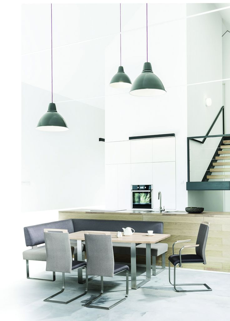 Beautiful example of minimal interior design - white kitchen and modern dining zone. #KloseFurniture #diningroom #minimalkitchen
