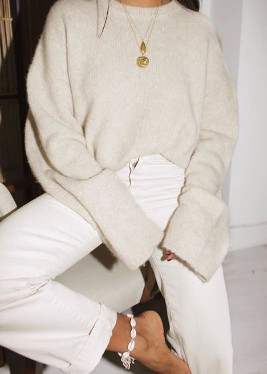 Cashmere Sweater White Jeans Cosy Autumn Outfit Ideas Office Style Inspo | #outf…