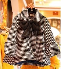 Oversized coat HOUNDSTOOTH wool blend A line swing jacket  plus size(20-22)2X