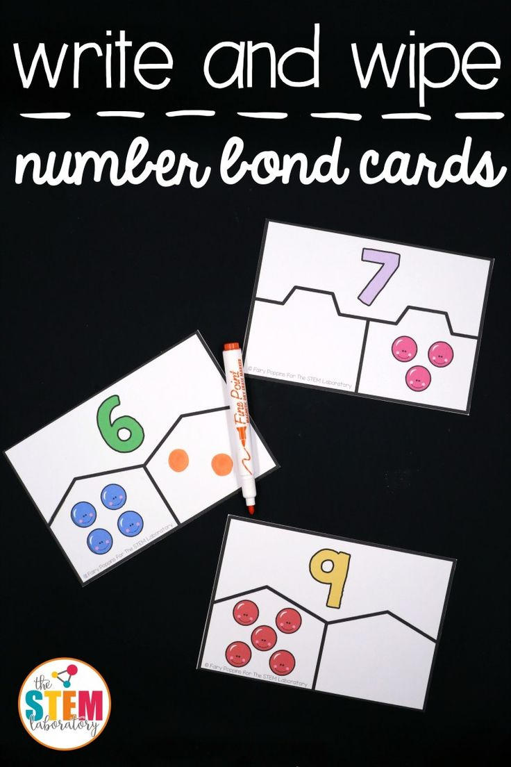 Free write and wipe number bond cards! Fun addition and subtraction activity for kindergarten and first grade.
