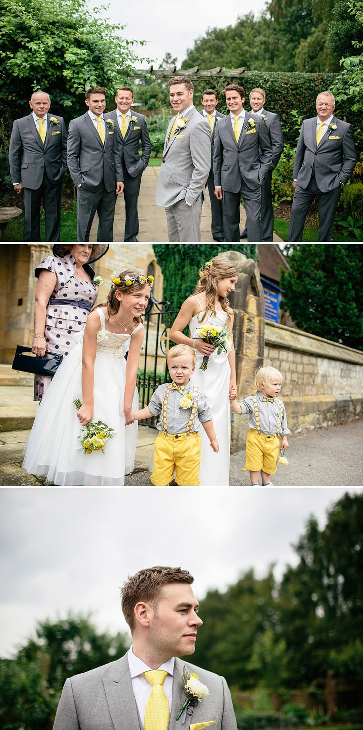 I like that the groom is wearing a lighter grey suit and the little yellow shorts!