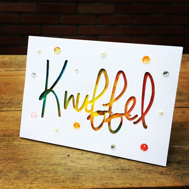 Knuffel! #card #handmade #distress #silhouette #rainbow