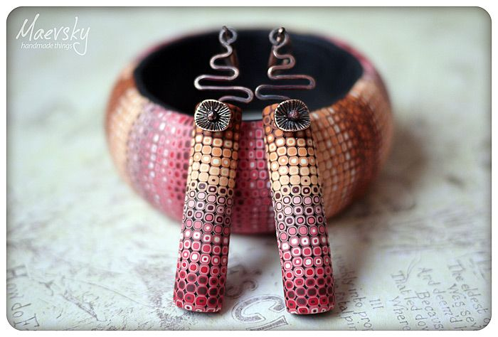Pixelated retro cane polymer clay bracelet and earrings