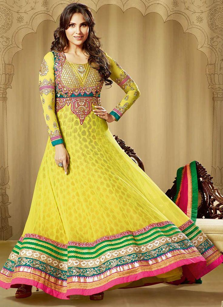 Yellow Multicolor Anarkali Suit – Lashkaraa