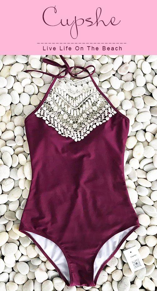 Live life on the beach, live life by your own feelings. $23.80 with high-quality & better service! Cupshe Broken Wine Halter One-piece Swimsuit is filled with all awesome elements you want. Pick it up for beach life.