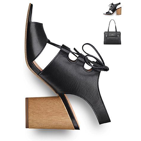 #Summer #shoes, #black #lacing, #blockheel #tamaris