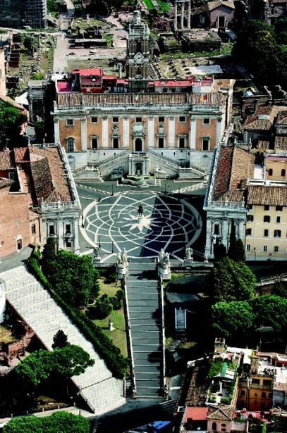 Piazza del Campidoglio is one of Rome's most beautiful squares, designed in the sixteenth century by Michelangelo, Capitoline Hill, Rome, Italy.