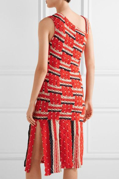 Tabula Rasa - Anat Fringed Macramé Cotton Dress - Claret -