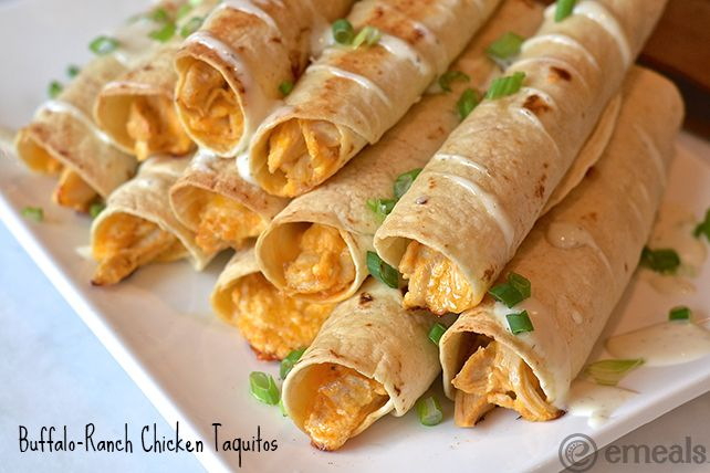 March Madness Buffalo-Ranch Chicken Taquitos   #MarchMadness #eMeals