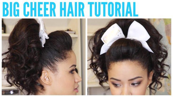 Cheerleader - Long Hair - BIG CHEER HAIR TUTORIAL - Perfect Poof and Curly Ponytail ♡