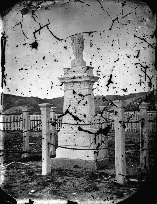 Memorial gravestone to Ihaka Whaanga [ca 1880s] who died 14th December 1875 at Mahia. Photographer unknown.