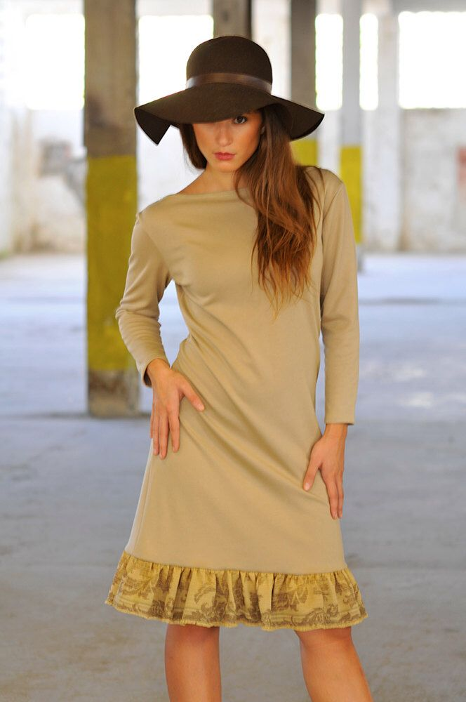 Beige dress with fluted hem by MagdaleneD on Etsy https://www.etsy.com/listing/250628739/beige-dress-with-fluted-hem