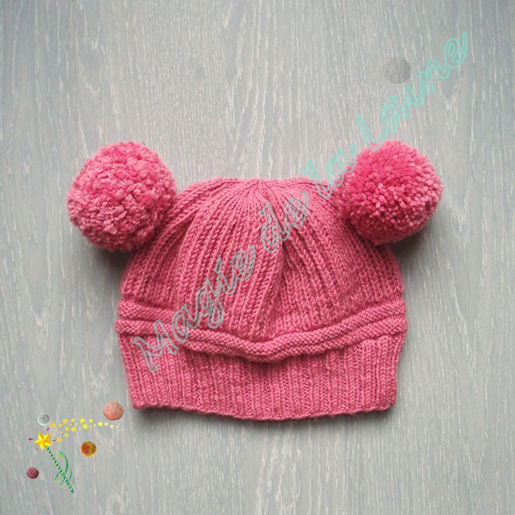 c267080c5b1 Bonnet à deux pompons rose fait main en tricot pour bébé enfant   Mode Bébé