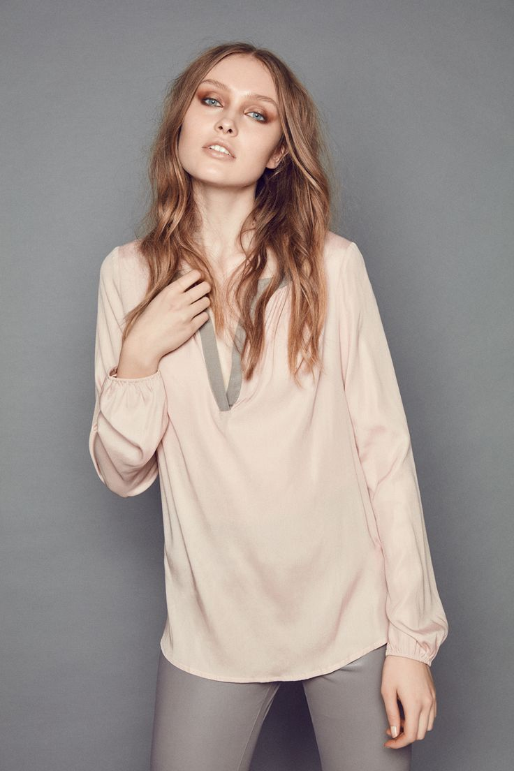 Johnny was long sleeve eyelet tunic in pink blush save 63 lyst - Amalie Stretch Silk Tunic In Rose With Taupe Detail And Sari Pants In Stretch Leather In