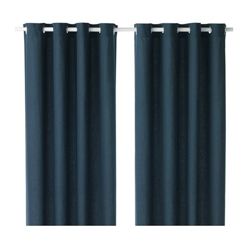 IKEA - MARIAM, Curtains, 1 pair, , The curtains lower the general light level and provide privacy by preventing people outside from seeing directly into the room.The eyelet heading allows you to hang the curtains directly on a curtain rod.