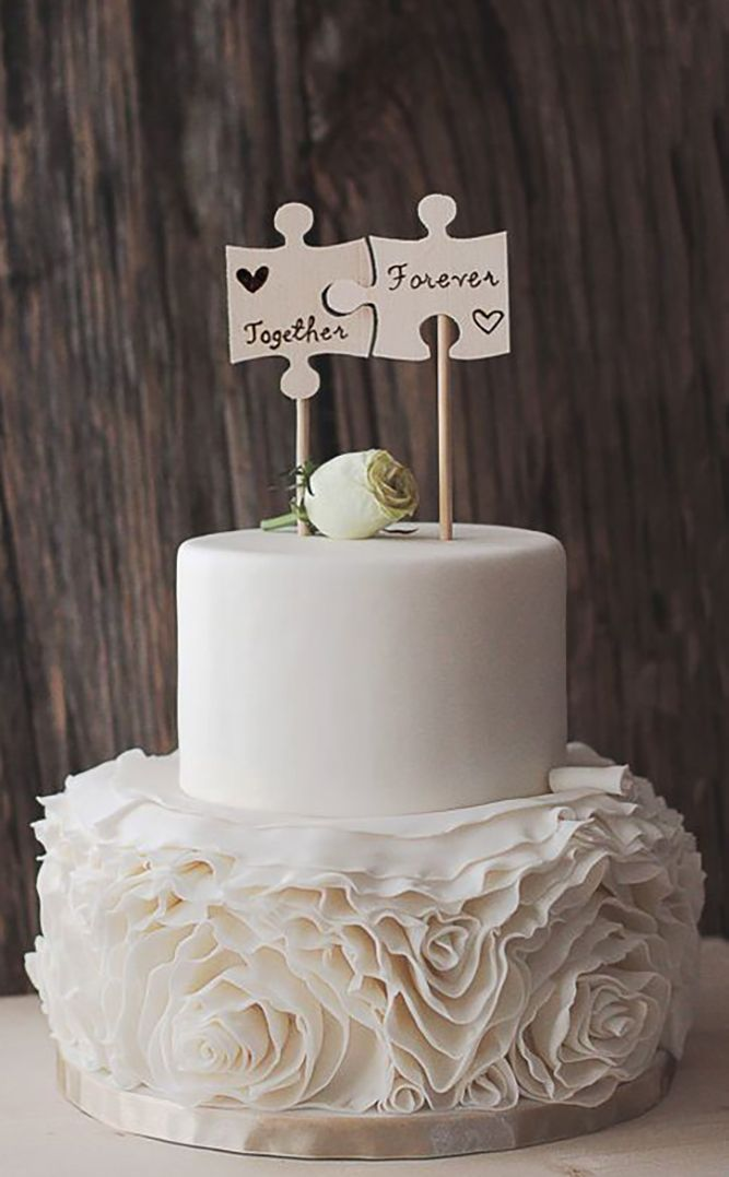 24 Creative Wedding Cake Topper Inspiration Ideas ❤ See more: http://www.weddingforward.com/wedding-cake-topper-ideas-inspiration/ #wedding #cakes