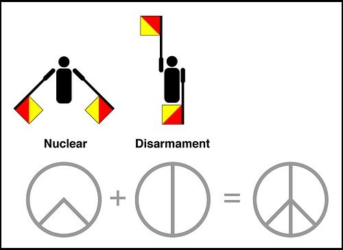 PEACE - It started life as the emblem of the British anti-nuclear movement but it has become an international sign for peace, and arguably the most widely used protest symbol in the world. It was designed in 1958 by Gerald Holtom, a professional designer and artist and a graduate of the Royal College of Arts.