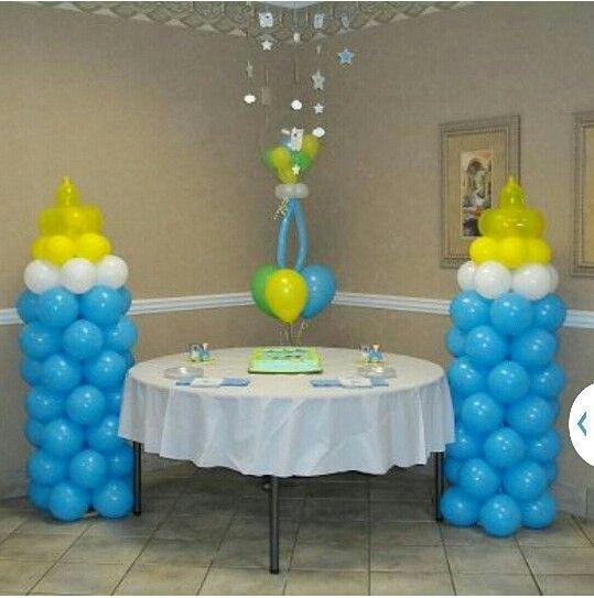 Biberon en ballon id al pour une baby shower baby shower - Decoration pour baby shower ...