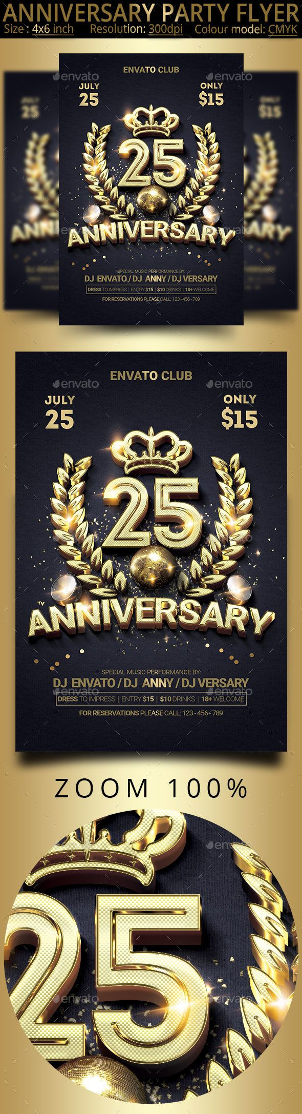 Anniversary Party Flyer - Events Flyers -  anniversary, b-day, bash, birthday, birthday flyer, black, bottle, celebration, champagne, colorful, elegant, event, flyer, flyer design, flyer template, gold, golden, invitation, light, luxe, luxury event, night club, party, party flyer, poster, private, spark, special, vip