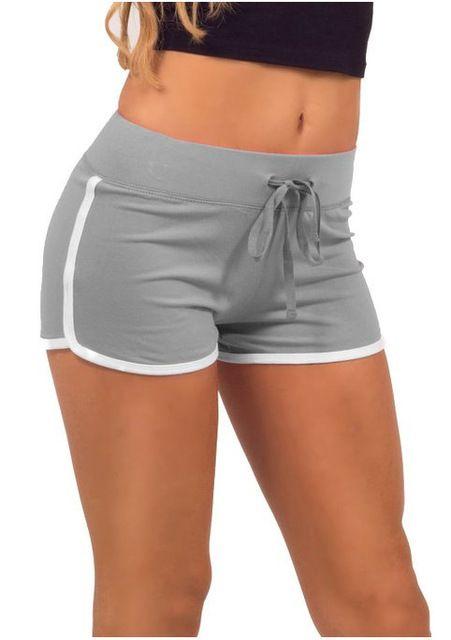 Mujeres Pantalones Cortos de Moda Contraste Vinculante Cintura Con Cordón Lateral de Split Cintura Elástica Pantalones Cortos Ocasionales Promoción