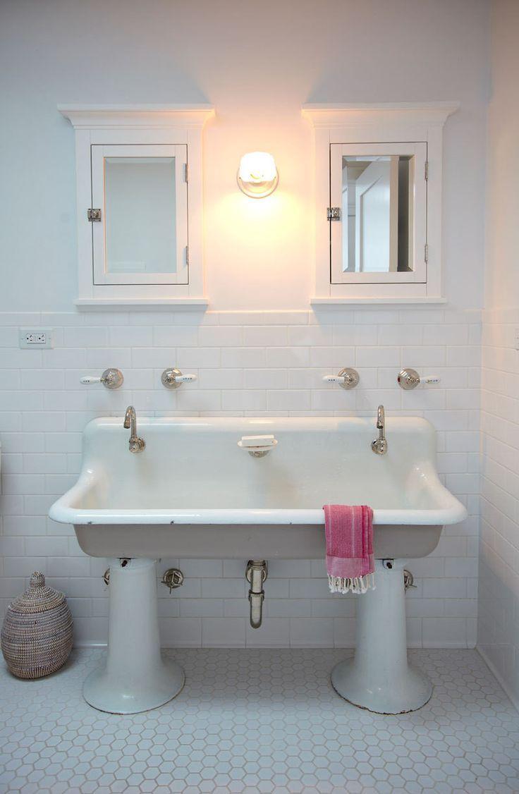Vintage style bathroom sinks - A Farmhouse Style Home In Brooklyn