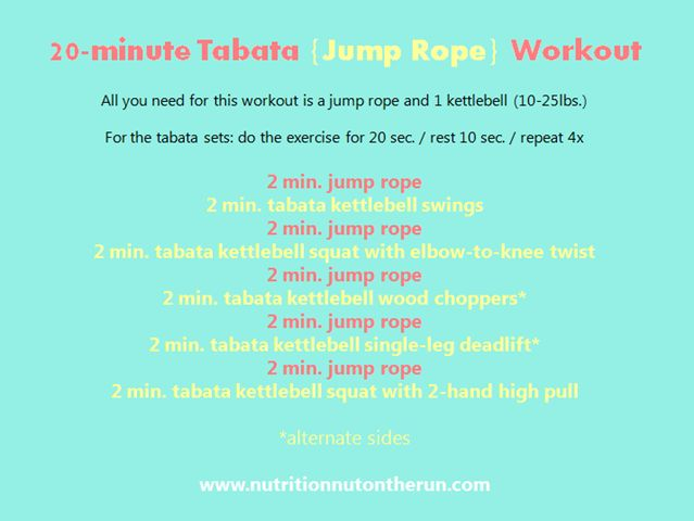 20-minute Tabata {Jump Rope} Workout with Kettlebells