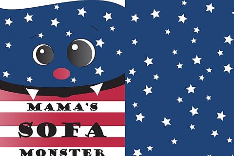 Sofa Monster USA (30x40cm Kissenstoff mit o. ohne Wunschtext) - www.Stoff-Schmie.de - hier machst Du Deinen Stoff selbst!