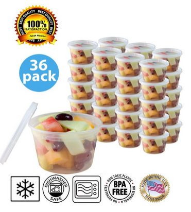 These are great for freezer jam! Small Plastic Food Containers with Lids 36 pk - Leak Proof, Microwavable, Freezer and Dishwasher Safe