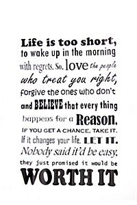 LIFE IS TO SHORT 90X60CM VINYL WALL STICKER