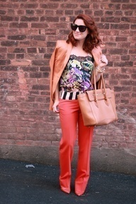 Tailored orange trousers with matching heels. Love it: her legs look miles long!: Matching Heels, Tailored Perfection, Orange Pants, Miles Long, Sexy Heels, Tailored Orange, Legs, Orange Trousers