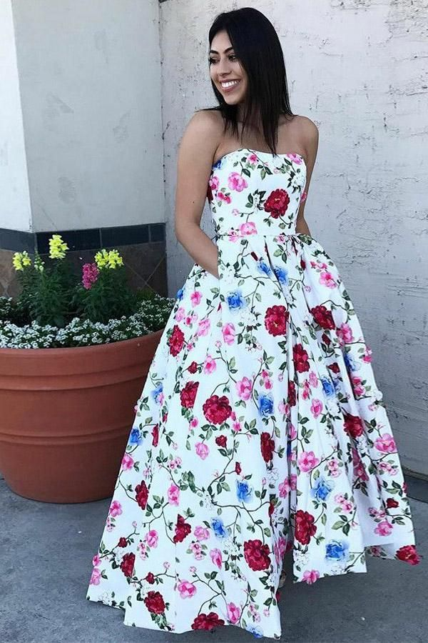 113996384491 A-Line Strapless High Low White Printed Prom Dress with Pockets ...