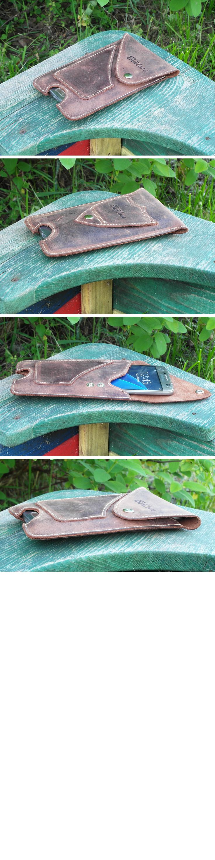Handmade of genuine leather Texas style belt pouch for mobile phones with card pocket and permanently sewn belt loop.