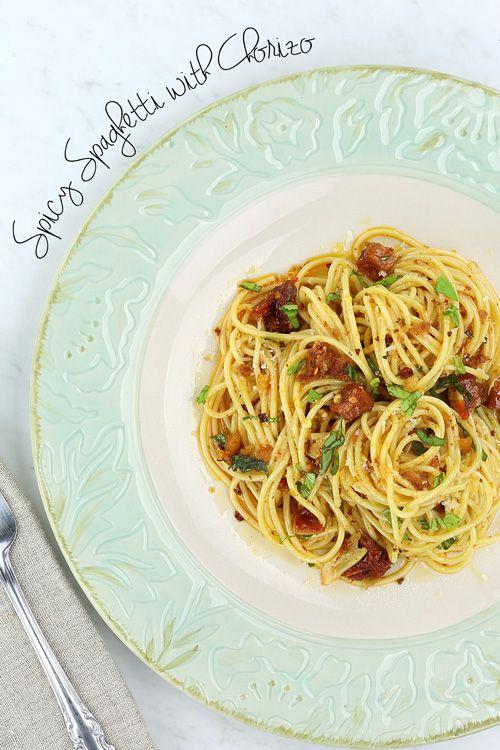 Spicy Spaghetti with Chorizo