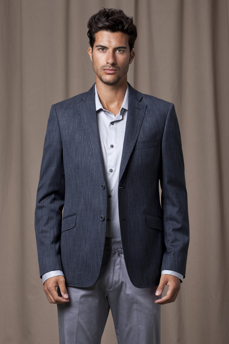 Navy blue blazer, grey chinos and powder blue shirt
