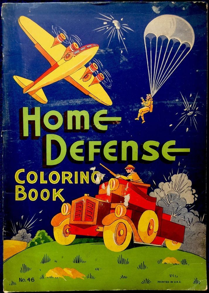 HOME DEFENSE Wartime Graphics Vintage 1940s Oversized Childrens Coloring Book