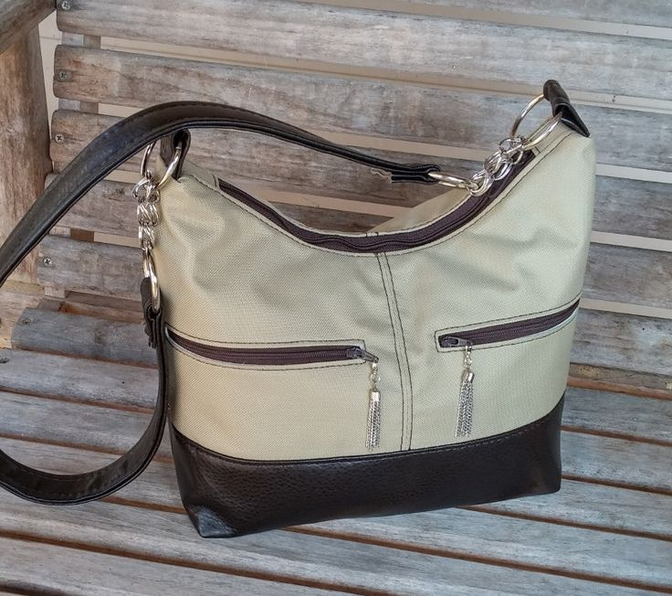 Hobo Shoulder Bag, Beige Hobo Bag, Brown Handbag, Leather Handbag, Hosta Hobo, Shoulder Bag, Canvas Handbag, Beige Purse by AmericanStitchers on Etsy