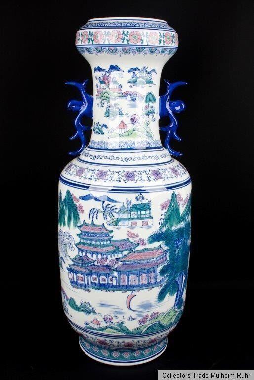 China 20. Jh. Eine Große Chinesische Porzellan Rouleau Bodenvase Vase Chinois